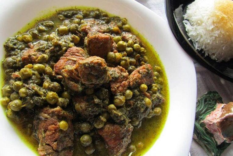طرز تهیه خورش نخود سبز و شوید