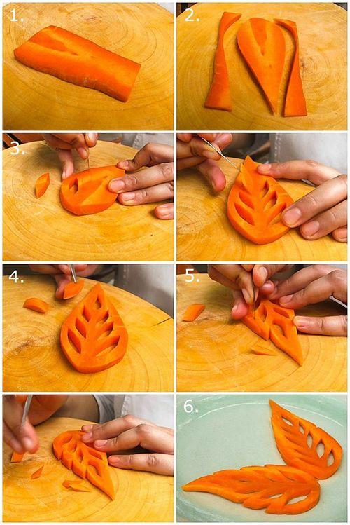 تزیین هویج به شکل برگ