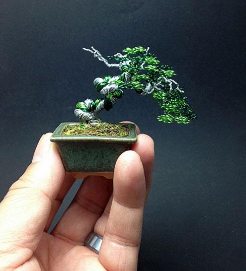 بونسای مینیاتوری - درختچه سیمی - کاردستی با سیم رنگی