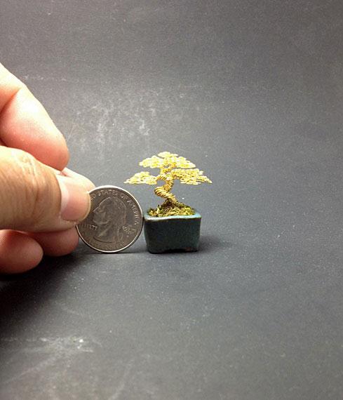 بنسای مینیاتوری - درختچه سیمی - کاردستی با سیم رنگی