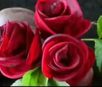 تزیین لبو به شکل گل رز + فیلم