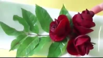 آموزش تصویری تزیین لبو به شکل گل رز + فیلم - سبزی آرایی