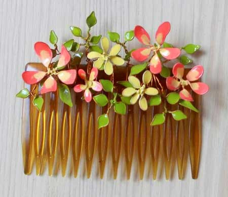 ساخت گل با سیم و لاک - تزیین شانه سر