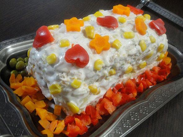 تزیین کیک غذا (چهارگوش)