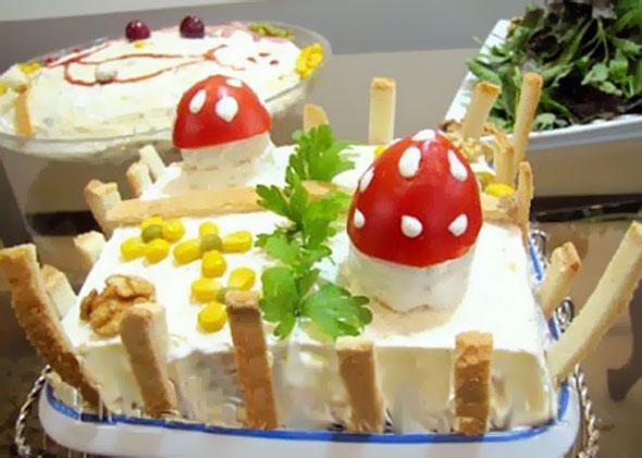 تزیین کیک مرغ - تزئین الویه برای تولد