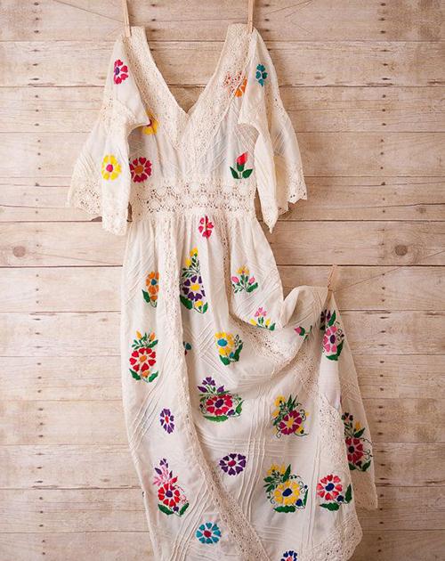 گلدوزی روی لباس - تزیین لباس با گلدوزی
