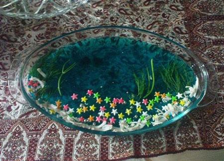 عکس ژله آکواریوم  - تزیین ژله دریایی