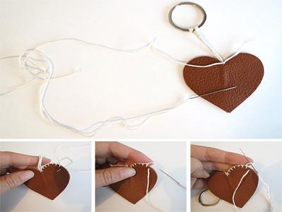 آموزش تصویری ساخت جاکلیدی چرمی به شکل قلب