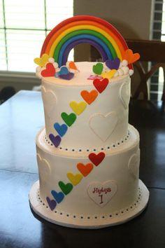 کیک با تزئین رنگین کمان - کیک های تولد رنگین کمانی
