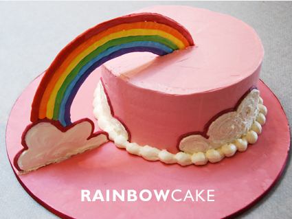 عکس کیک تولد با تزیین رنگین کمان