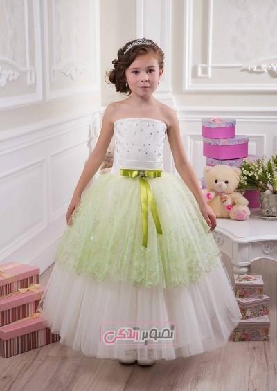 مدل ای زیبای لباس مجلسی بچگانه - پیراهن حریر چین چین