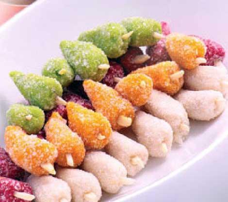 طرز تهیه شیرینی توت - توت بادامی  - توت پسته - توت نارگیلی