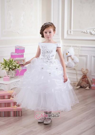 لباس عروس بچگانه - لباس مجلسی سفید دخترانه