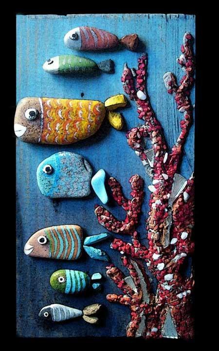 نقاشی روی سنگ به شکا اکواریوم