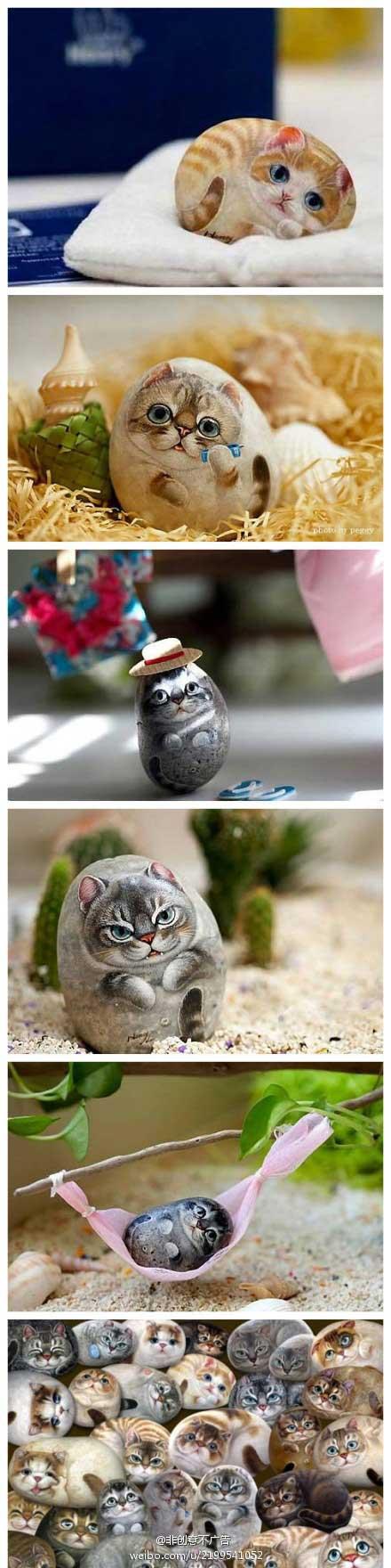 نقاشی کردن روی سنگ به شکل گربه های ملوس