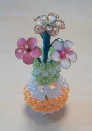 آموزش مروارید بافی - ساخت گلدان با مروارید