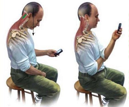 با گردن خم به موبایل و تبلت نگاه نکنید