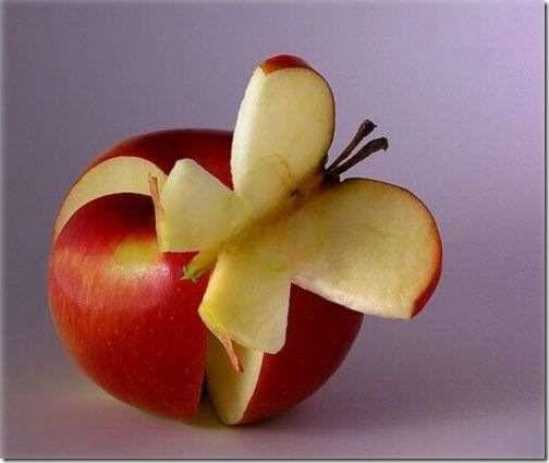 میوه آرایی - تزیین سیب درختی به شکل پروانه