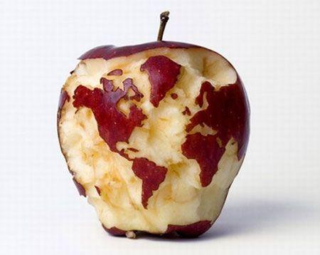میوه آرایی - تزیین سیب به شکل کره زمین