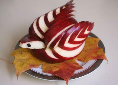 میوه آرایی - تزیین سیب به شکل پرنده