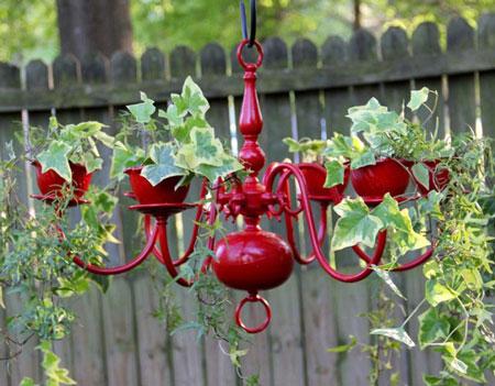 ساخت آویز گلدان با لوستر - گلدان آویز