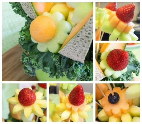 آموزش تصویری میوه آرایی - تزیین میوه به شکل گلدان گل