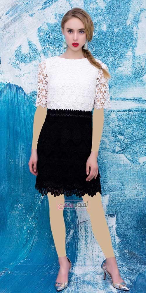 مدل لباس کوتاه مجلسی دخترانه - پیراهن گیپور مجلسی دخترانه