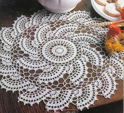 رومیزی قلاب بافی - زیر گلدانی
