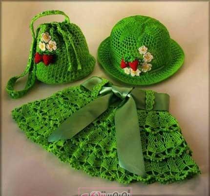 دامن قلاب بافی - لباس بچگانه  - کلاه