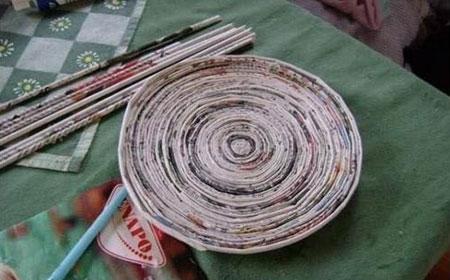 کاربردهای روزنامه باطله,ساخت ظروف روزنامه ای , ساخت ظرف با روزنانه
