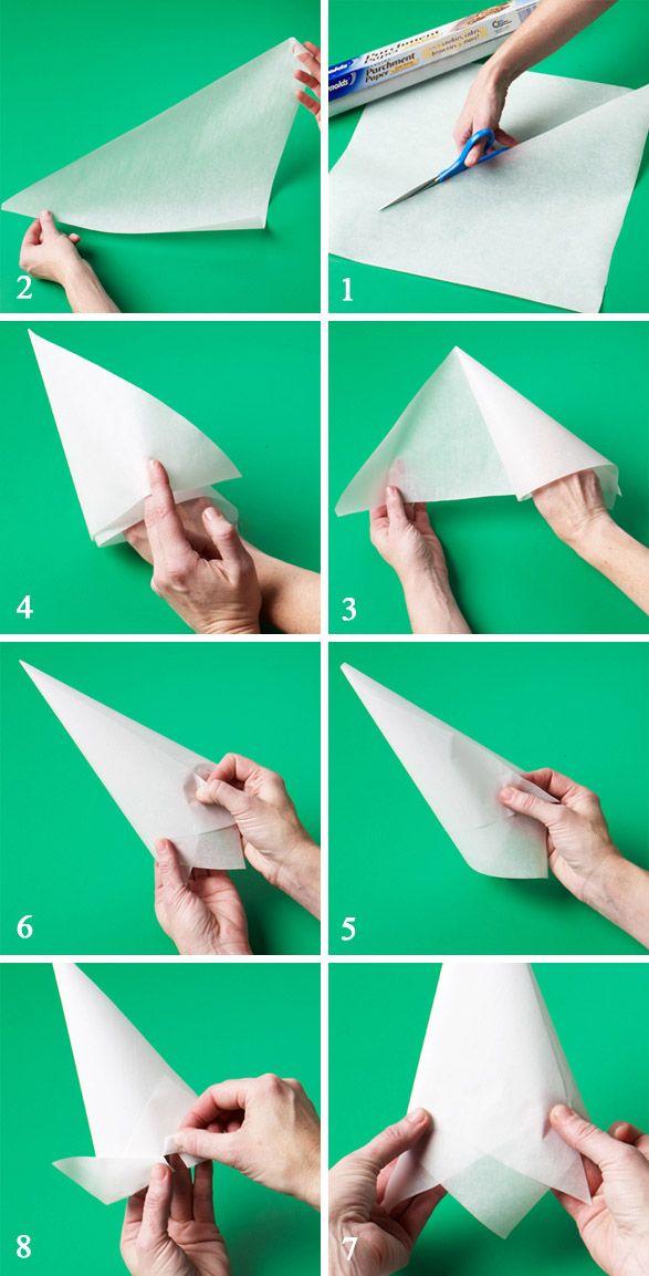نکات آشپزی  , آموزش ساخت قیف کاغذی برای تزیین کیک