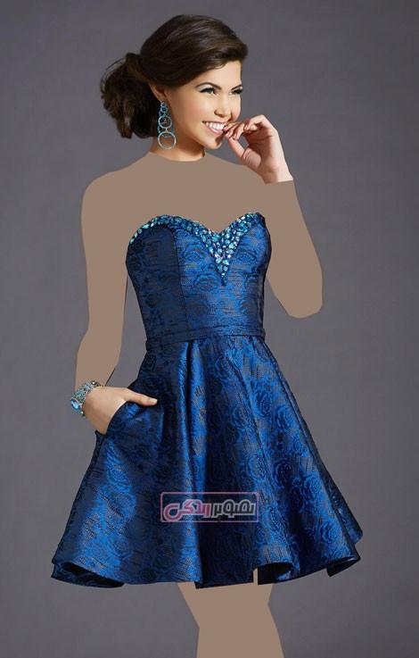 مدل لباس مجلسی - پیراهن حریر کوتاه - لباس گیپور