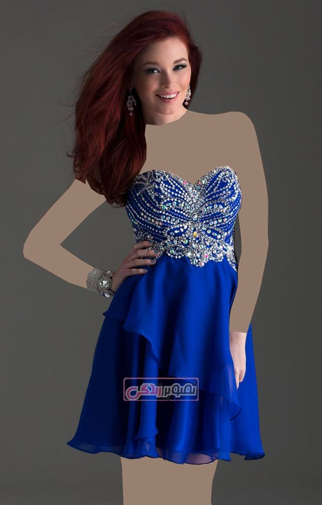 مدل لباس مجلسی - پیراهن گیپور کوتاه - لباس حریر