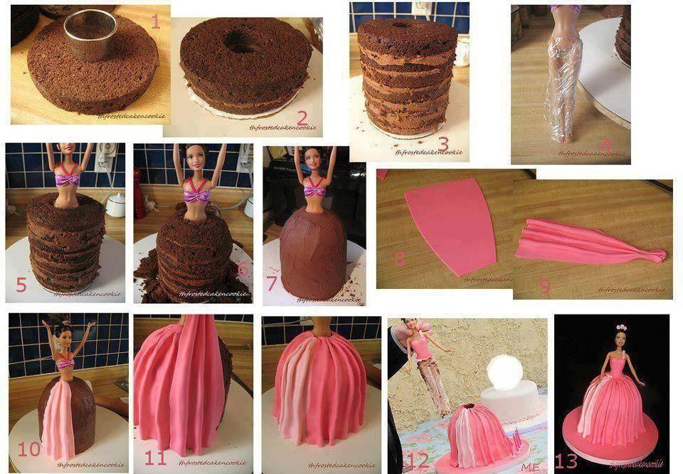 تزیین کیک به شکل عروسک باربی