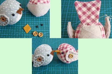 گل نمدی برای روی یخچال آموزش مرحله ای دوخت عروسک پرنده پارچه ای