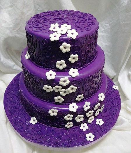 کیک عروسی بنفش - تزیین کیک تولد