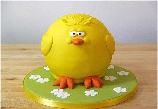 تزیین کیک تولد شکل جوجه طلایی