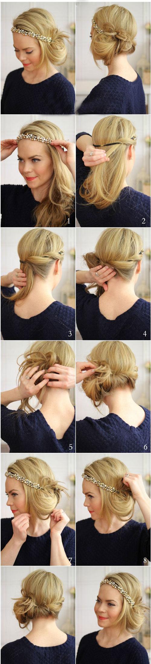 مدل و آرایش مو  , آموزش تصویری شینیون ساده مو