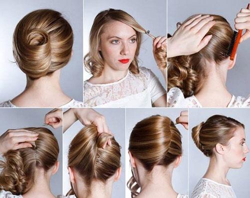 آرایش و زیبایی مدل و آرایش مو  , آموزش تصویری شینیون مو در خانه