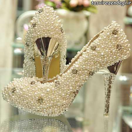 مدل کفش عروس جواهرنشان