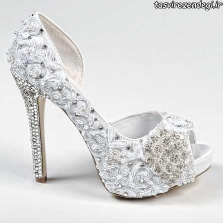 مدل کفش عروس جواهر نشان