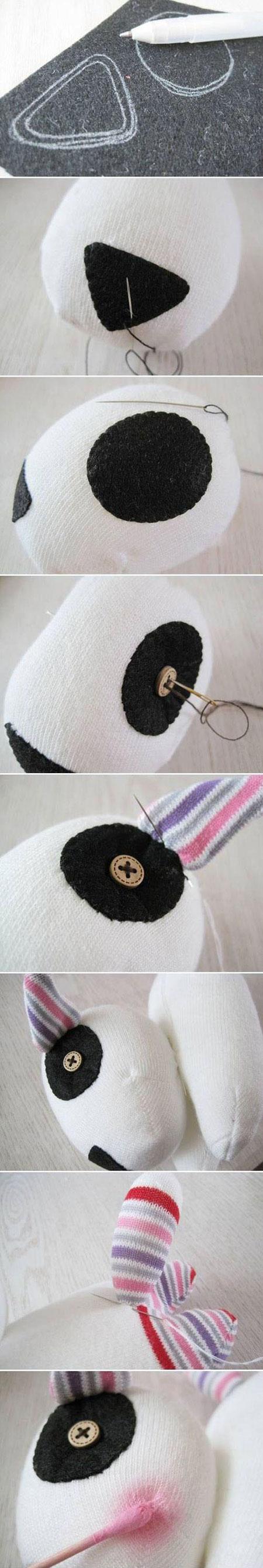ساخت عروسک با جوراب, آموزش تصویری دوخت عروسک سگ با جوراب