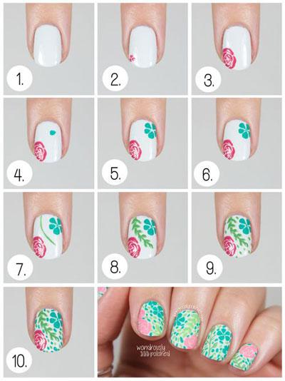 آموزش تصویری طراحی ناخن - دیزاین جدید ناخن - طرح گل گلی