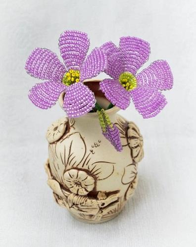 آموزش تصویری ساخت گل منجوق بافی