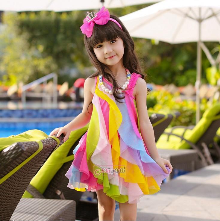 پیراهن مجلسی حریر بچگانه مدل رنگین کمانی