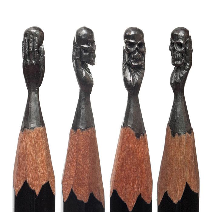 مجسمه های حک شده روی نوک مداد
