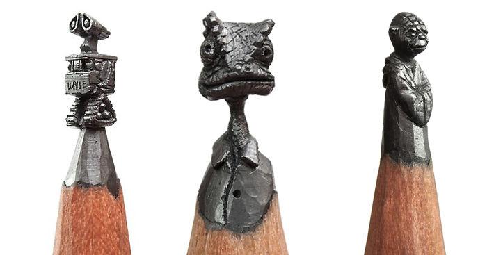 ساخت مجسمه های مینیاتوری روی نوک مداد