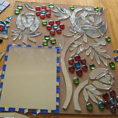 آموزش هنرهای دستی  , آموزش آینه کاری : نمونه کارهای تزیین با آینه شکسته
