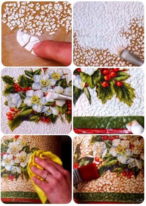 درست کردن تابلو با دکوپاژ پوسته تخم مرغ