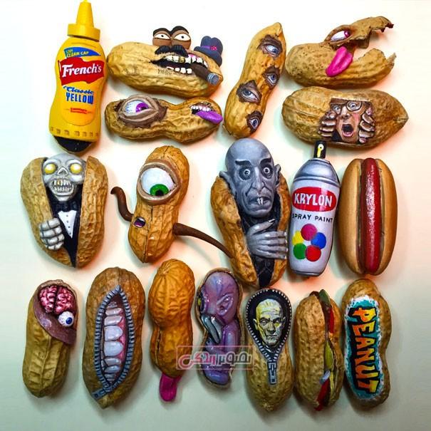 آثار هنری زیبا ساخته شده از بادام زمینی